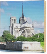 Notre Dame Over Water Wood Print