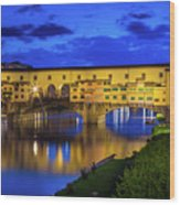 Notte A Ponte Vecchio Wood Print