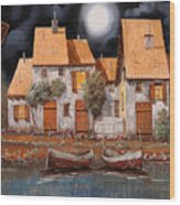 Notte Di Luna Piena Wood Print