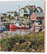 Nova Scotia Fishing Community Wood Print