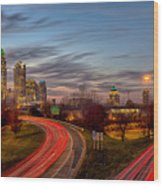 November Sun Setting Over Charlotte North Carolina Skyline Wood Print