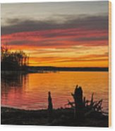 November Sunset Manasquan Reservoir Nj Wood Print
