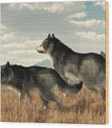 November Wolves Wood Print