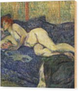 Nu Couche Naked Lying  Wood Print