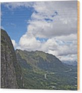 Nu Uanu Pali Valley Overlook On Oahu Island Hawaii  Wood Print