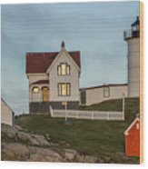 Nubble At Sunset Wood Print