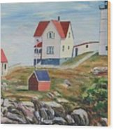 Nubble Light House Maine Wood Print