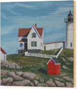 Nubble Light House Wood Print by Paul Walsh
