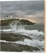 Nubble Light In A Storm Wood Print by Rick Frost