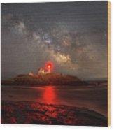 Nubble Light Milky Way Rising Wood Print