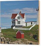Nubble Lighthouse - D002365 Wood Print
