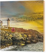 Nubble Lighthouse At Sunset Wood Print