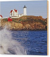 Nubble Lighthouse In Daylight Wood Print by Jeremy Woodhouse