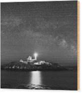 Nubble Lighthouse Milky Way Pano Bw Wood Print