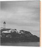 Nubble Lighthouse Overcast Bw Wood Print