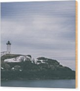 Nubble Lighthouse Overcast  Wood Print