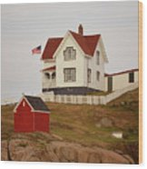 Nubble Lighthouse Shed And House Wood Print
