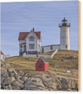 Nubble Lighthouse York Maine Wood Print