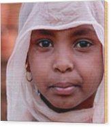 Nubian Girl In Color Wood Print