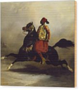 Nubian Horseman At The Gallop Wood Print by Alfred Dedreux or de Dreux