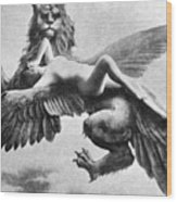 Nude And Griffin, 1890s Wood Print