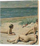 Nude Bathers On The Beach Wood Print