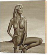 Nude Blond Beauty Sepia Wood Print