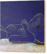 Nude Blue Wood Print