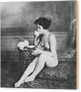 Nude Drinking Tea, 19th Ct Wood Print