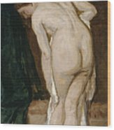 Nude Drying Herself After A Bath Wood Print