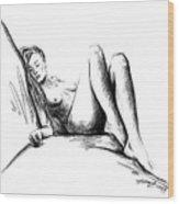 Nude Female Figure Wood Print