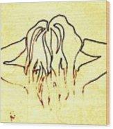 Nude Female Hands In Hair Wood Print