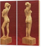 Nude Female Impressionistic Wood Sculpture Donna Wood Print by Mike Burton