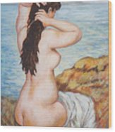 Nude Fixing Her Hair My Reproduction Of Renoirs Work Wood Print