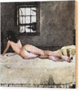 Nude In Bed Wood Print