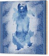 Nude In Blue Wood Print