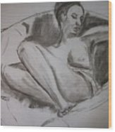 Nude In Chair Wood Print