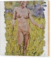 Nude In Field Wood Print