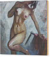 Nude In Shower Wood Print