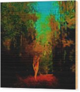 Nude In The Forest Wood Print