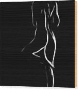 Nude In White And Black Wood Print