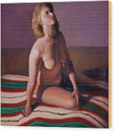 Nude Looking Up Wood Print