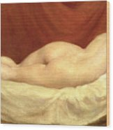 Nude Lying On A Sofa Against A Red Curtain Wood Print