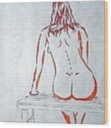 Nude On Bench Wood Print