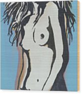 Nude - Pop Art Etching Style  Poster 6 Wood Print