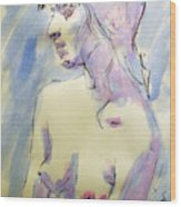 Nude Portrait Drawing Sketch Of Young Nude Woman Feeling Sensual Sexy And Lonely Watercolor Acrylic Wood Print
