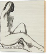 Nude Study, Girl Sitting On A Flowered Cushion Wood Print