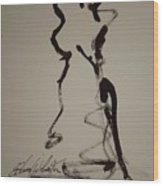 Nude Study In Ink A Wood Print