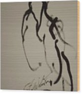 Nude Study In Ink G Wood Print