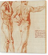 Nude Study Of Two Warriors Wood Print